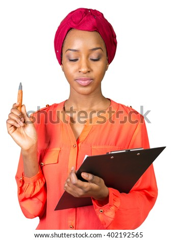Portrait of an attractive young american african woman with clipboard - stock photo