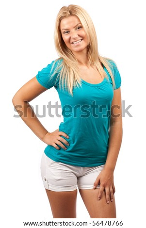 Portrait of an attractive young blonde woman isolated on white - stock photo