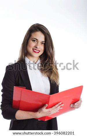Portrait of an attractive young businesswoman - stock photo