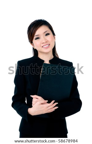 Portrait of an attractive young businesswoman holding file over white background. - stock photo