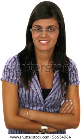 Portrait of an attractive young businesswoman isolated on a white background. - stock photo
