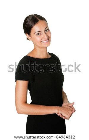 Portrait of an attractive young lady smiling - stock photo