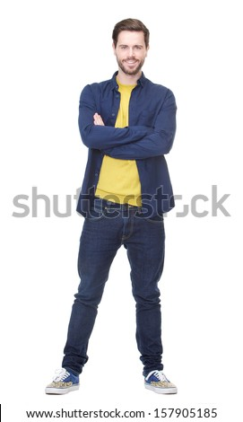 Portrait of an attractive young man smiling on isolated white background - stock photo
