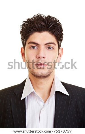 Portrait of an attractive young serious business man - stock photo