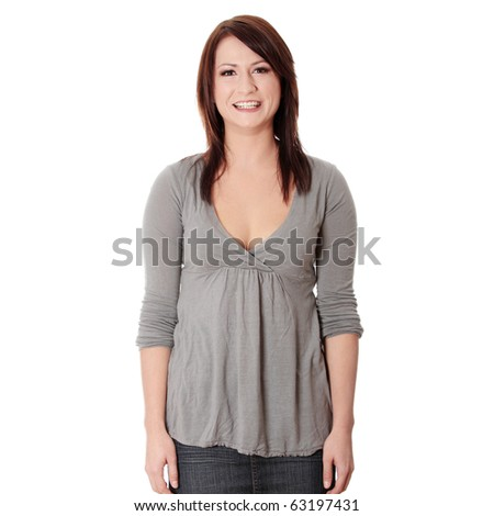 Portrait of an attractive young woman isolated on white background - stock photo