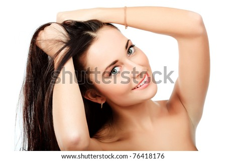 Portrait of an attractive young woman. Isolated over white background. - stock photo