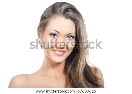 Portrait of an attractive young woman. Isplated over white background.