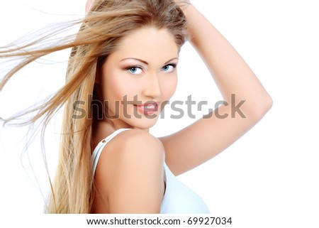 Portrait of an attractive young woman. Isplated over white background. - stock photo