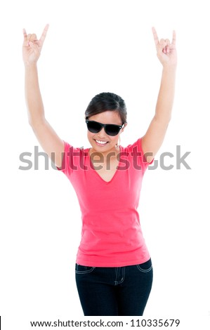 Portrait of an attractive young woman showing the rocker hand sign with her hands over white background. - stock photo