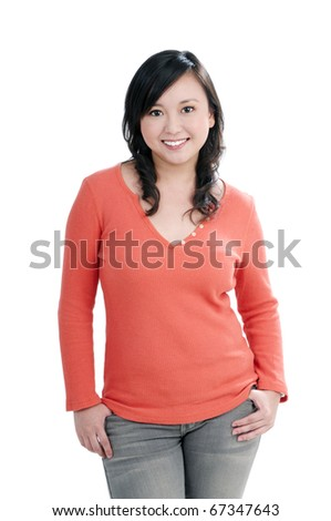 Portrait of an attractive young woman smiling, over white background.
