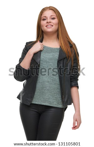 Portrait of an attractive young woman with black leather jacket