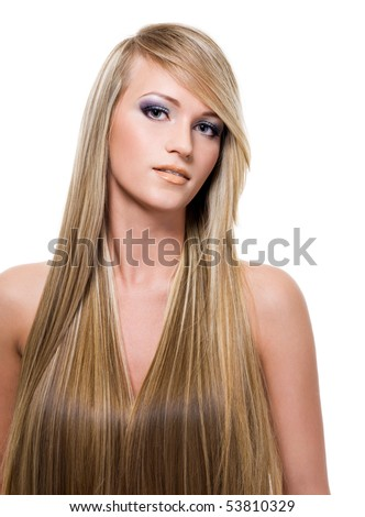 portrait of an attractive young woman with long straight blond hair - stock photo