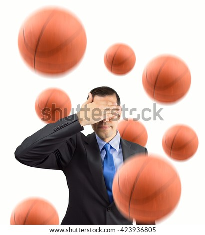 Portrait of an businessman covering his eyes because he does not likes basketball isolated on white background - stock photo