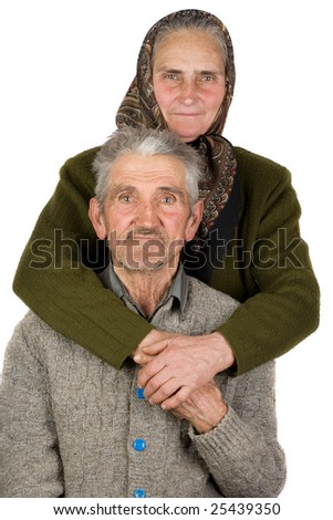 Portrait of an elderly couple, isolated on white background