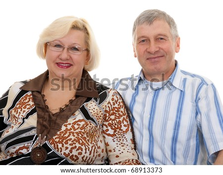 portrait of an elderly couple on a white background