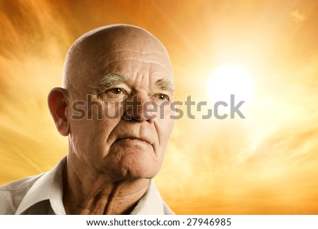 Portrait of an elderly man - stock photo