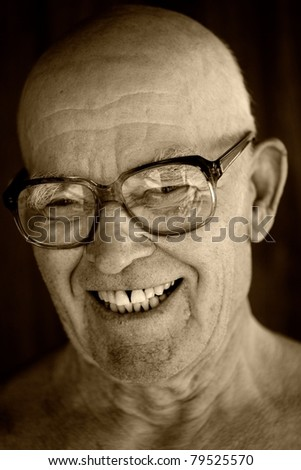 Portrait of an elderly man. - stock photo