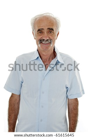 Portrait of an elderly man isolated on white - stock photo