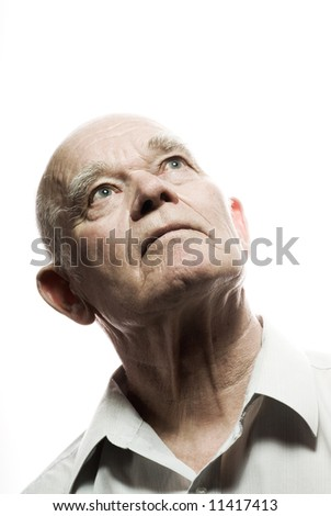 Portrait of an elderly man. Isolated on white background - stock photo