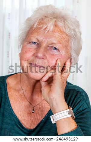 Portrait of an elderly woman - stock photo