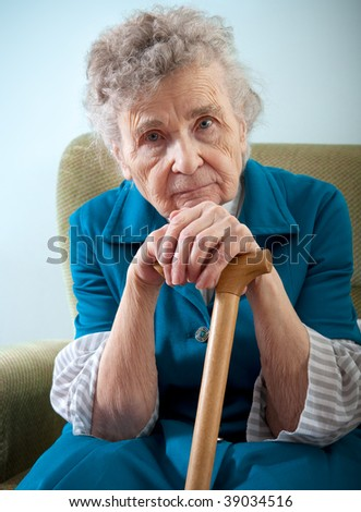 portrait of an elderly woman - stock photo