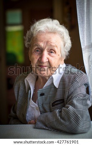 Portrait of an elderly woman in a formal suit. - stock photo