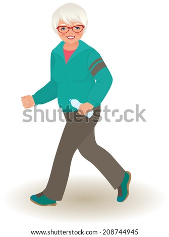 Portrait of an elderly woman running on a white background/Mature woman doing jogging/Illustration of an elderly woman in a tracksuit jogs - stock photo
