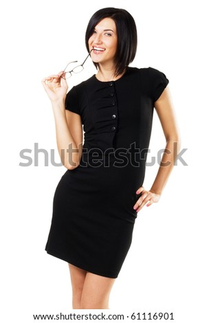 Portrait of an elegant businesswoman against white background - stock photo