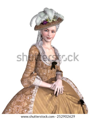 Portrait of an elegant lady wearing an 18th century Rococo style gown - 3d render. - stock photo