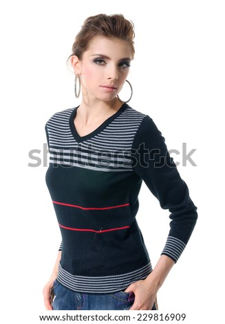 portrait of an elegant young woman posing  - stock photo
