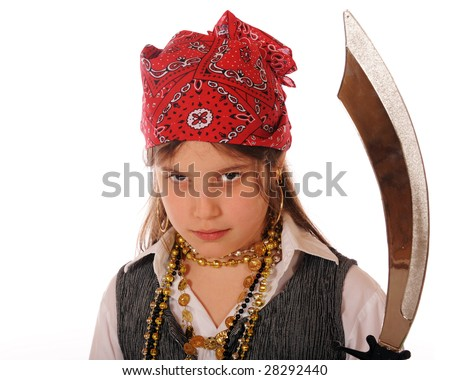 """Portrait of an elementary """"pirate girl"""" with attitude.  Isolated on white. - stock photo"""