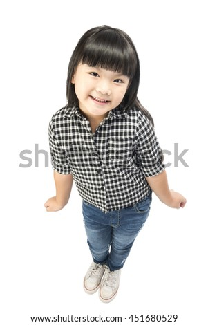 Portrait of an emotional beautiful little girl, Isolated on white background with clipping path.