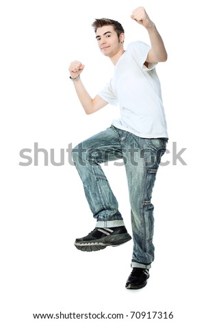 Portrait of an emotional young man. Isolated over white background. - stock photo