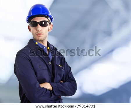 Portrait of an engineer - stock photo