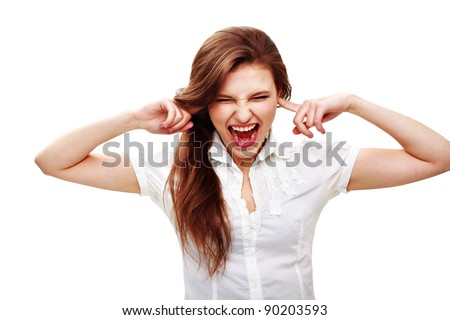 Portrait of an excited young woman screaming against white background - stock photo