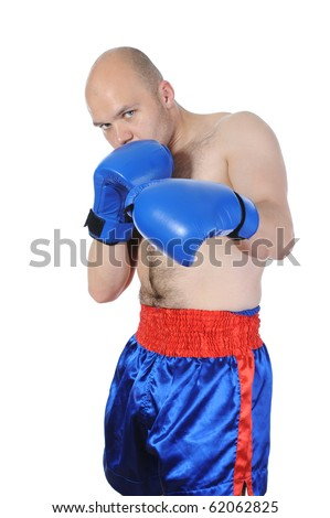 Portrait of an experienced boxer. Isolated on white background - stock photo