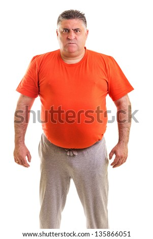 Portrait of an expressive fat  man isolated white background - stock photo