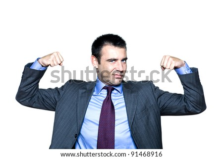 Portrait of an expressive man flexing muscles in studio on isolated white background - stock photo