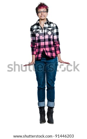 Portrait of an extreme nervous woman in studio on white isolated background - stock photo