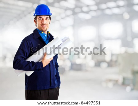 Portrait of an handsome architect - stock photo