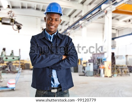 Portrait of an handsome black engineer - stock photo