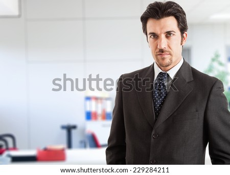 Portrait of an handsome businessman in his office - stock photo