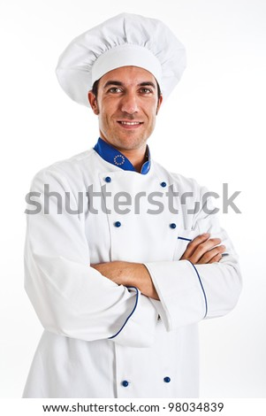 Portrait of an handsome chef - stock photo