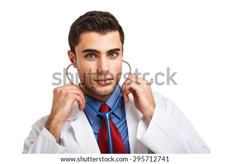 Portrait of an handsome doctor - stock photo