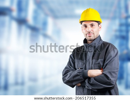 Portrait of an handsome engineer - stock photo