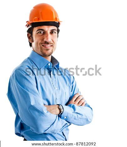 Portrait of an handsome engineer isolated on white - stock photo