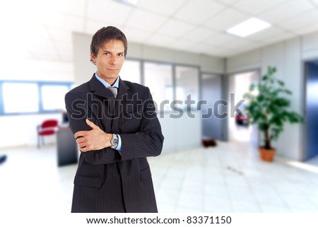 Portrait of an handsome smiling businessman - stock photo