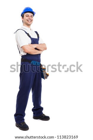 Portrait of an happy smiling worker - stock photo