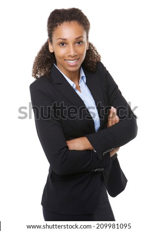 Portrait of an honest young business woman smiling with arms crossed