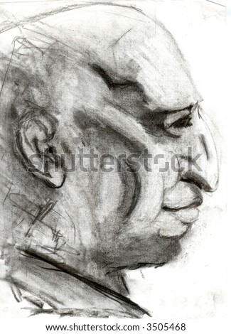 portrait of an imaginary male person in graphite pencil technique.blurry look. i am an author